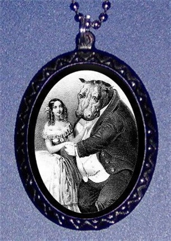 Hippo Marries Lady Necklace Victorian Humor Weirdly Pendant Necklace NEW Kitsch Lowbrow Strange Odd Perfect