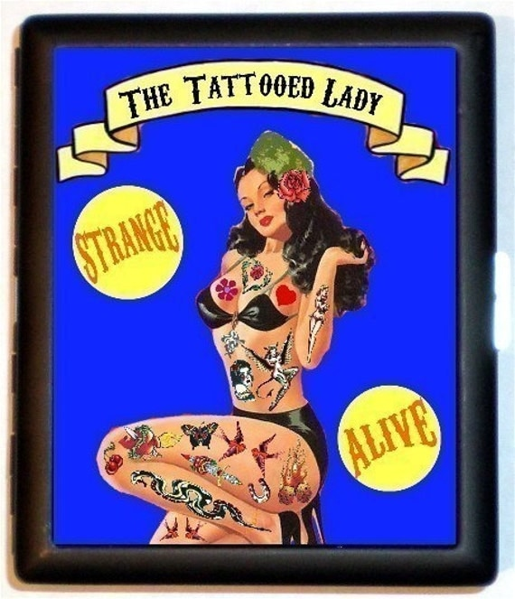 Tattooed Lady Pinup Cigarette Case Sideshow Pinup Circus Tattoo Rockabilly Wallet Business Card Holder