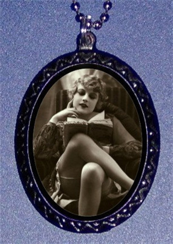 Flapper Girl Reading Pendant Necklace Reader a Book Wearing Stockings NEW