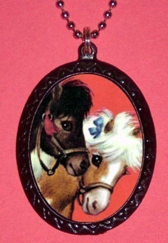 Baby Pony Pendant Necklace Kawaii Cute Ponies Small Adorable Kitsch Illustration of Super Cute Horses
