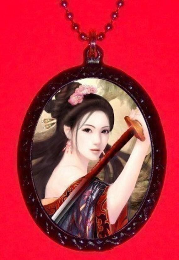 Woman Samurai Necklace Pendant Japanese Pinup Sword Geisha Culture Unique Anime Princess Fierce