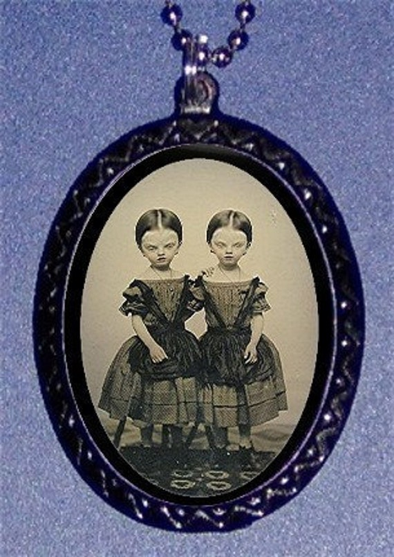 Alien Twins Necklace and Pendant Horror Gothic Retro Altered Grotesque Art Victorian Kitsch