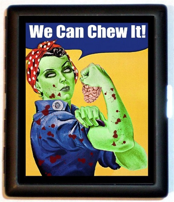 Zombie Rosie the Riveter Cigarette Case Zombies Feminist Girl Power We Can Chew It Retro ID Business Card Credit Card Holder Wallet