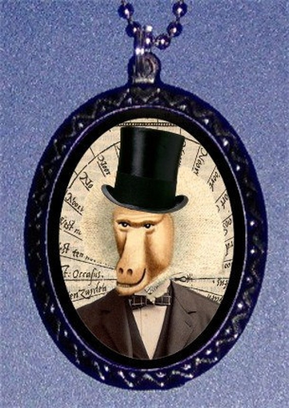 Baboon Monkey Man Necklace in Top Hat Surreal Pendant Necklace NEW Victorian Steampunk Inspired