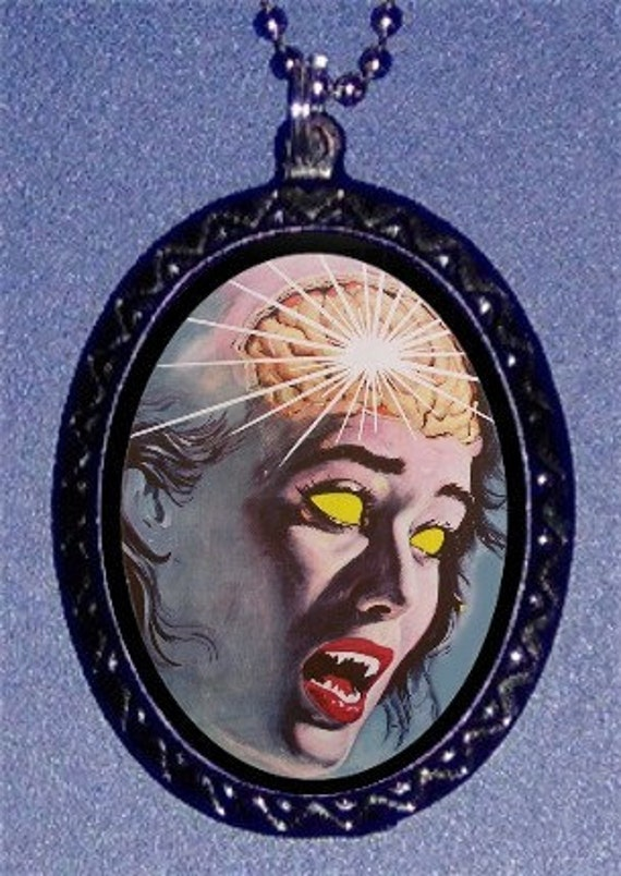 Zombie Pendant Retro Horror Movie Poster Art necklace Living Dead Brains