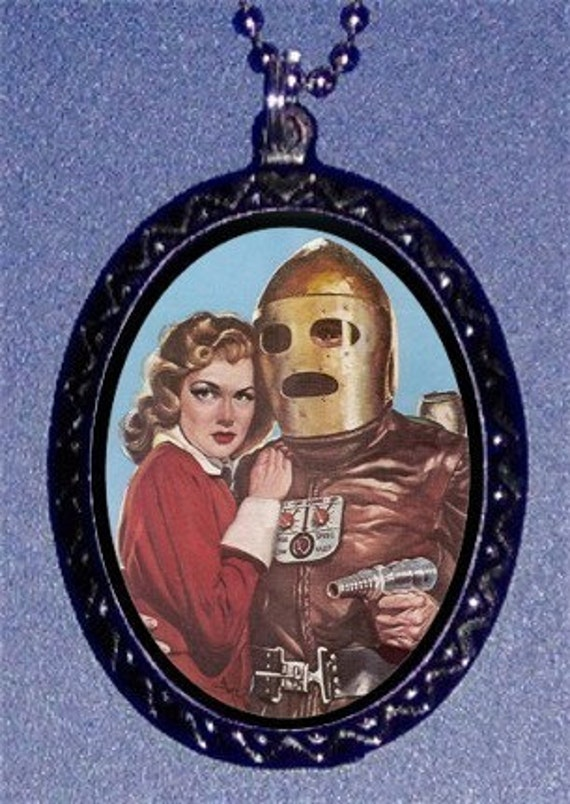 Robot Man Android Space Girl Pendant Necklace New Punk Kitsch Retro