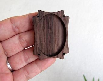 Miniature woodwork frame setting bezel finished - Walnut - 30 x 40 mm - (D91-W)