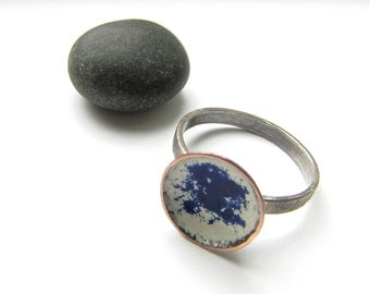 Cosmos torch fired enamel, sterling silver and copper stackable ring - size 8