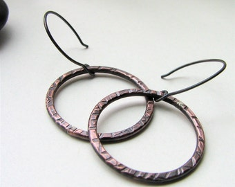 Comes Full Circle copper and sterling silver earrings - made to order