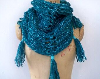 Chunky Knit Triangle Bandana Scarf with Fringe Tassels - Eco Friendly Recycled Teal Wool Triangular Shawl - Handmade Turquoise Tassel Scarf
