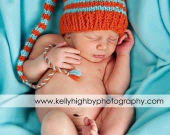 Orange Aqua Newborn Hat Knit BaBY PHoTO PRoP Long Stocking Cap UNiSeX Boy Girl Pixie Beanie CoMiNG HoME Munchkin Toque CHooSE CoLOR Stripe