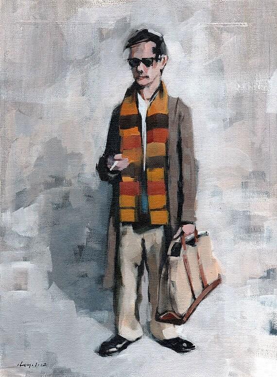 Art Print Fashion Figure Man Scarf Color Overcoat 9x12 on 11x14 - Clothed Figure Study 6 by David Lloyd