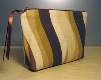 25% Off Sale: Brown Wave Zipper Pouch