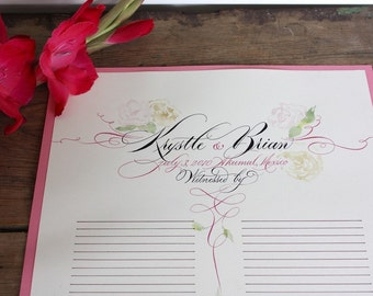 Wedding Registry, Guest Signing Certificate, Marriage Scroll, Custom Calligraphy, Sign-In, Watercolor, Personalized