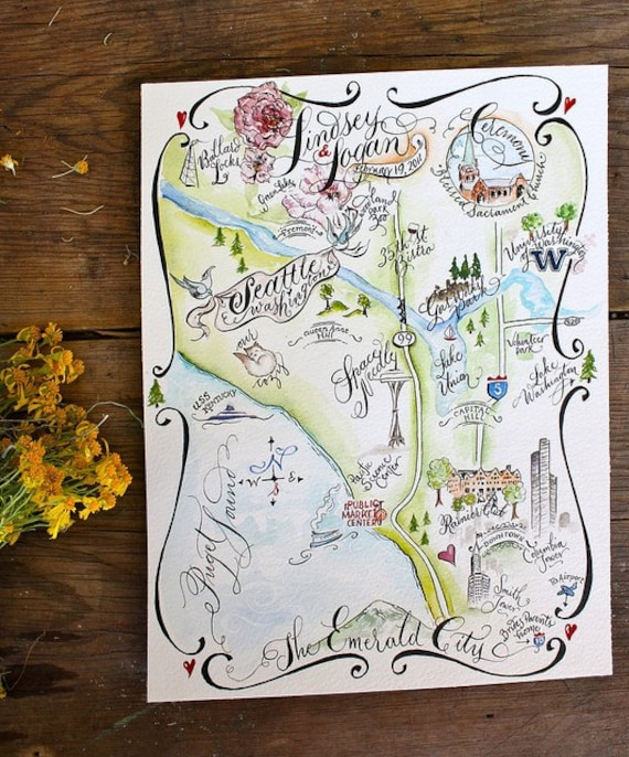 Wedding Map, Save the Date, Custom Illustrated Watercolor and Calligraphy