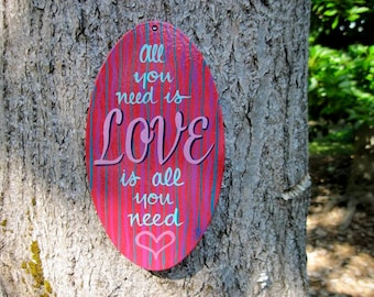 Love Is All You Need,  oval sign,  MadeToOrder only.