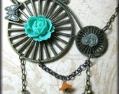 Steampunk Penny Farthing Brass Bicycle Necklace Victorian Vintage Inspired Clockwork Gears
