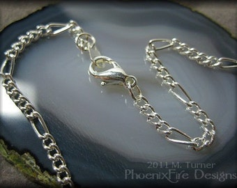 "18"" Silver Plated Figaro Chain Ready to wear necklace Finished chain add on for Tree of Life Pendants by PhoenixFire Designs"