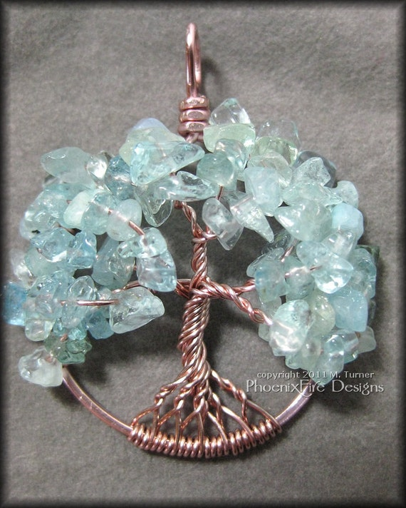 Tree of Life Pendant in Blue Aquamarine in Rose Gold Wire March Birthstone Birthday Pale Blue Water Ocean Sea