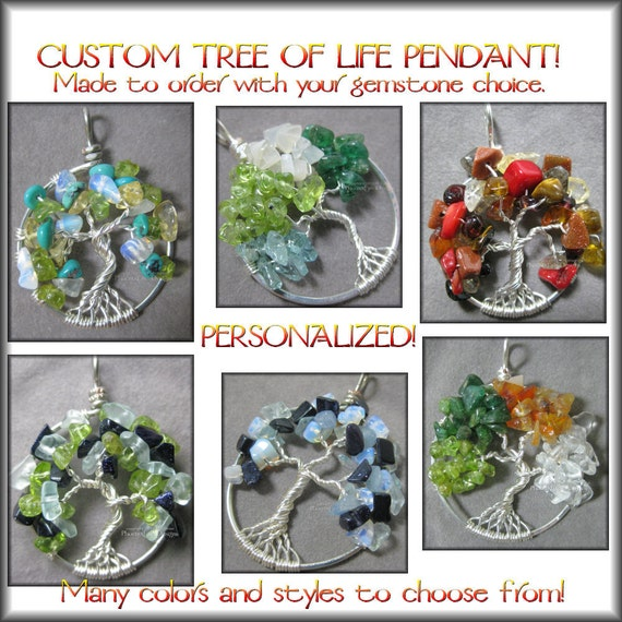 CUSTOM Tree of Life Pendant Personalized Family Tree Birthstone Necklace Wire Wrapped Jewelry Personalized Push Present Mother's Jewelry
