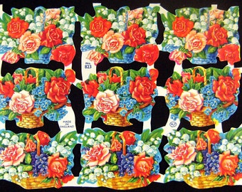 FLOWER BASKET Vintage Die Cut Sheet Made in England