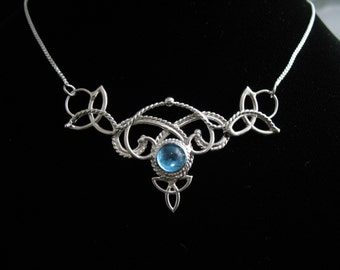 Irish Wedding Necklace Celtic Knot OOAK Necklaces, 8mm round Blue Topaz Cabochon, Box Chain .925 - Sterling Silver, Handmade