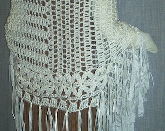 PONCHO, Luscious Cream with silkrag and ribbon fringe