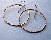 Cooper Hammered Hoops - Earrings Paw & Claw Designs
