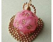 D20 Dice Pendant - Shimmer Easter Pink - Geek Gamer DnD Role Playing RPG