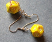 D12 D20 Dice Earrings - Toxic Yellow  - Orange  Yellow Geek Gamer DnD Role Playing RPG