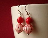 Red Pebbles - Vintage Bead Handmade Sterling Earrings - Paw & Claw Designs
