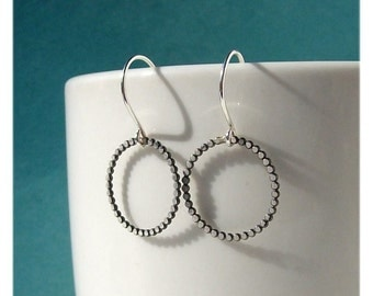 Dots - Metalsmithed Hoop Sterling Silver  Earrings - Paw & Claw Designs