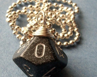 D10 Die Pendant - Dungeons and Dragons - Ninja - Black Gray Silver Geek Gamer DnD Role Playing RPG