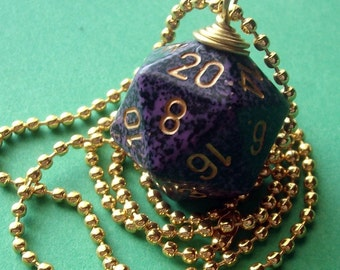 D20 Dice Pendant - Hurricane - Purple Geek Gamer DnD Role Playing RPG