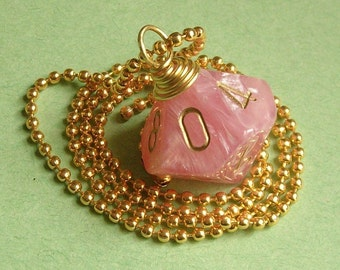 Dungeons and Dragons - D10 Dice Necklace - Shimmer Easter Pink - Geek Gamer DnD Role Playing RPG