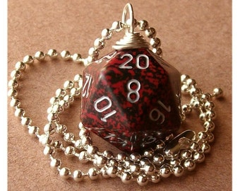 D20 Die Pendant - Dungeons and Dragons - Silver Volcano - Red Black Silver - RPG Dice Geek Gamer Role Playing DnD
