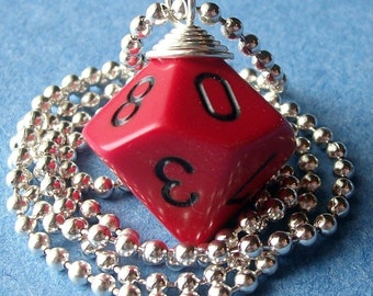 Dungeons and Dragons - D10 Die Pendant - Red with Black Numbers - Geek Gamer DnD Role Playing RPG - Paw & Claw Designs