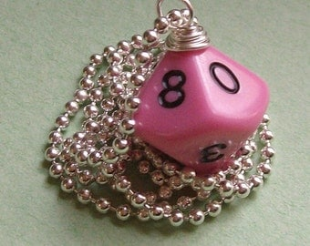 D10 Dice Pendant - Dungeons and Dragons - Bubble Gum Pink - Geek Gamer DnD Role Playing RPG