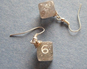 D6 D10 Dice Earrings - Dungeons and Dragons -  Silver Glitter - Geek Gamer DnD Role Playing RPG