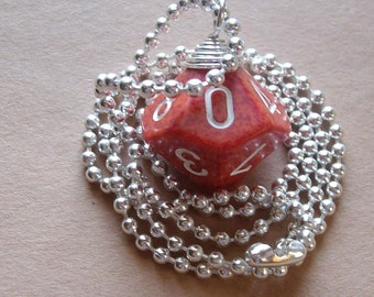 D10 Dice Pendant - Dungeons and Dragons - Red Speckled - Geek Gamer DnD Role Playing RPG