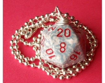 D20 Dice Pendant - Dungeons and Dragons - Air - White Gray Red Geek Gamer DnD Role Playing RPG