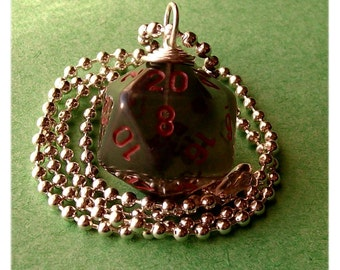 D20 Die Pendant - Dungeons and Dragons - Smoke - Gray Geek Gamer DnD Role Playing RPG