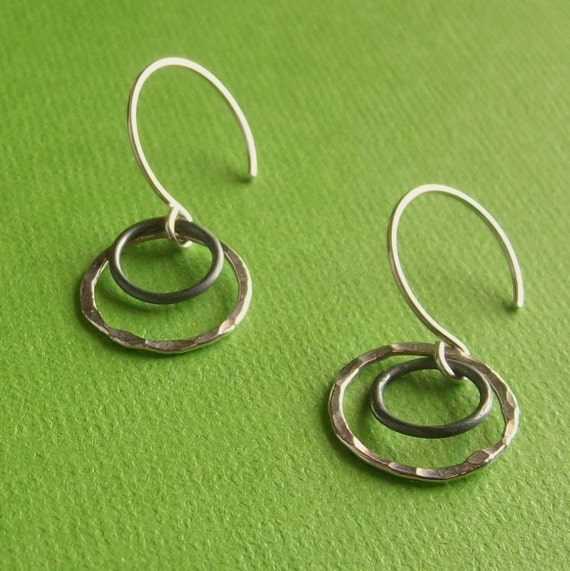 Duality Hoops - Rustic Hammered Sterling Silver Earrings - Handmade Artisan Paw & Claw Designs