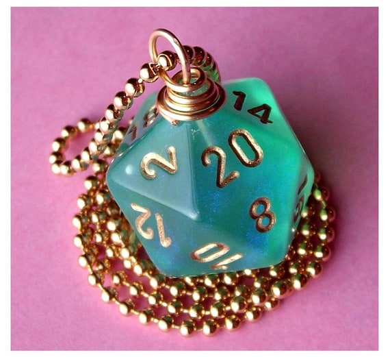D20 Die Pendant - Dungeons and Dragons - Light Green Borealis - Teal Green Glitter Geek Gamer DnD Role Playing RPG