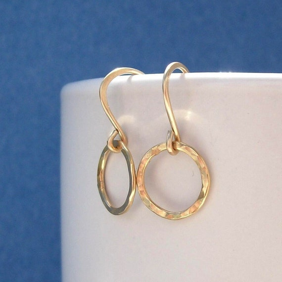 Gold Filled Hoops - Golden Pebbled -  Earrings Hammered Rings