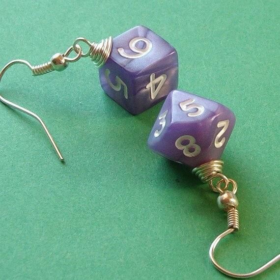 Dungeons and Dragons - D10 D6 Earrings - Lavender Pearl - Geek Gamer DnD Role Playing RPG - Paw & Claw Designs
