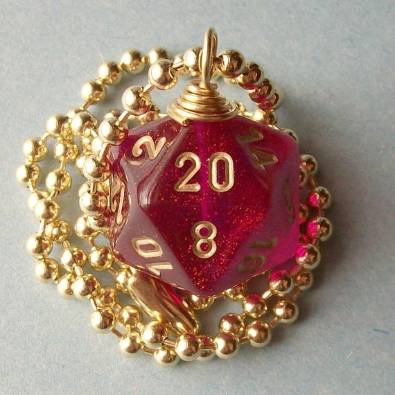 Dungeons and Dragons - D20 Die Pendant - Magenta Borealis - Geek Gamer DnD Role Playing RPG