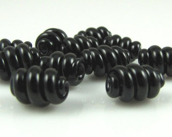 Black Corkscrew Swirl Lampwork Glass Bead Set of 10