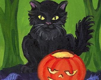 Halloween pumpkin black cat, gothic woods art 5 x 7 reproduction photo print jack o lantern spooky woodland forest decoration HAB cute