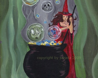 Halloween Cauldron red witch art print reproduction  5 x 7 matte gothic magic pagan goblin haunted spell occult Halloween art